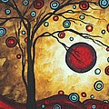 Abstract Art Original Metallic Gold Landscape Painting Freedom Of Joy By Madart by Megan Duncanson