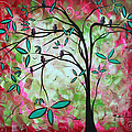Abstract Art Original Whimsical Magical Bird Painting Through The Looking Glass  by Megan Duncanson