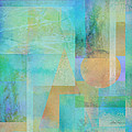 abstract - art- Tahitian Blue Square by Ann Powell