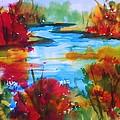 Abstract - Autumn Blaze On Catskill Creek by Ellen Levinson