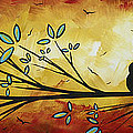 Abstract Bird Landscape Tree Blossoms Original Painting Family Of Three by Megan Duncanson