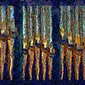 Abstract Blue And Gold Organ Pipes by Jenny Setchell