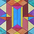 Abstract Colorful Stained Glass Window Design  by Anna Ruzsan