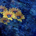 Abstract Daisies On Blue by Ann Powell