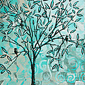Abstract Floral Birds Landscape Painting Bird Haven II By Megan Duncanson by Megan Duncanson