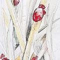 Abstract Floral Painted Background With Ladybugs by Aleksandar Mijatovic