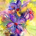 abstract Flower botanical watercolor painting print by Svetlana Novikova
