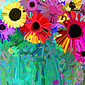 abstract - flowers- Flower Power Four by Ann Powell