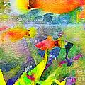 Abstract Goldfish Fish Bowl Aquarium Watercolor 1 by Beverly Claire Kaiya
