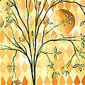 Abstract Harlequin Diamond Pattern Painting Original Landscape Art Moon Tree By Megan Duncanson by Megan Duncanson