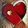 Abstract Heart Original Painting Valentines Day Heart Beat By Madart by Megan Duncanson