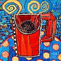Abstract Hot Coffee In Red Mug by Ana Maria Edulescu