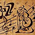 Abstract Jazz Music Coffee Painting by Georgeta  Blanaru