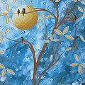 Abstract Landscape Bird Painting Original Art Blue Steel 1 By Megan Duncanson by Megan Duncanson