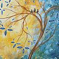 Abstract Landscape Bird Painting Original Art Blue Steel 2 By Megan Duncanson by Megan Duncanson