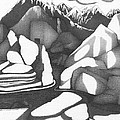 Abstract Landscape Rock Art Black And White By Romi by Megan Duncanson