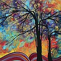Abstract Landscape Tree Art Colorful Gold Textured Original Painting Colorful Inspiration By Madart by Megan Duncanson