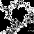 Abstract Leaf Pattern - Black White Grey by Natalie Kinnear