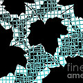 Abstract Leaf Pattern - Black White Turquoise by Natalie Kinnear