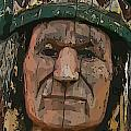 Abstract Of Wooden Indian Head by John Malone
