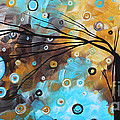 Abstract Painting Chocolate Brown Whimsical Landscape Art Baby Blues By Madart by Megan Duncanson