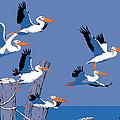 abstract Pelicans seascape tropical pop art nouveau 1980s florida birds large retro painting  by Walt Curlee