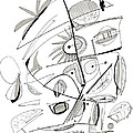 Abstract Pen Drawing Sixty-seven by Lynne Taetzsch