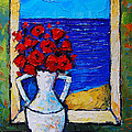 Abstract Poppies By The Sea by Mona Edulesco