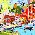 Abstract Portofino Italy Decorative Art by Ginette Callaway