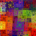 Abstract - Rainbow Bliss - Fractal - Square by Andee Design