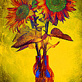 Abstract Sunflowers In Vase by Ness Welham