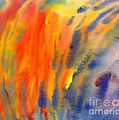 Abstract Watercolor Painting With Fire Flames by Kerstin Ivarsson