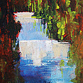 Abstract Waterfall Painting by Nancy Merkle