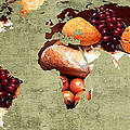 Abstract World Map - Harvest Bounty - Farmers Market by Andee Design