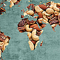Abstract World Map - Mixed Nuts - Snack - Nut Hut by Andee Design