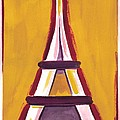 Abstract Yellow Red Eiffel Tower by Robyn Saunders