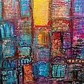 Abstrtact City Sunset by Ingrid  Becker