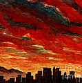 AC052 Red Sunset Over City