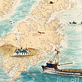 Accomplice Kodiak Crab Fishing Boat Cathy Peek Nautical Chart Map  by Cathy Peek