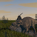 Achelousaurus Grazing In Swamp by Kostyantyn Ivanyshen