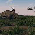 Achelousaurus Walking Amongst Swamp by Kostyantyn Ivanyshen