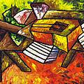 Acoustic Guitar On Artist's Table by Kamil Swiatek