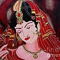 Acrylic Painting-lady With Diya by Priyanka Rastogi