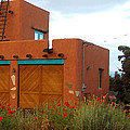 Adobe House And Poppies by Wendy Raatz Photography
