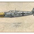 Adolf Galland Messerschmitt Bf-109 - Map Background by Craig Tinder