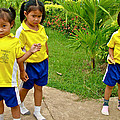 Adorable Sweethearts Welcoming Committee At Baan Konn Soong School In Sukhothai-thailand by Ruth Hager