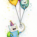 Adventure Time Finn With Birthday Balloons Jake Princess Bubblegum Bmo by Olga Shvartsur