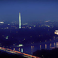Aerial Night View Of Washington Dc by Mountain Dreams