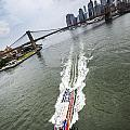 Aerial View - Red Tourist's Boat At East River by Alex Potemkin