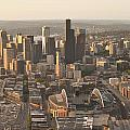 Aerial View Of The Seattle Skyline With Stadiums by Jim Corwin